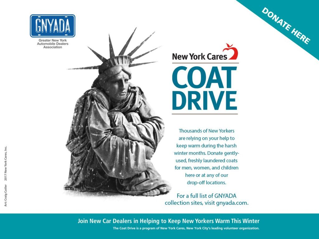 hassett is a drop-off site for the GNYADA/New York Cares coat drive