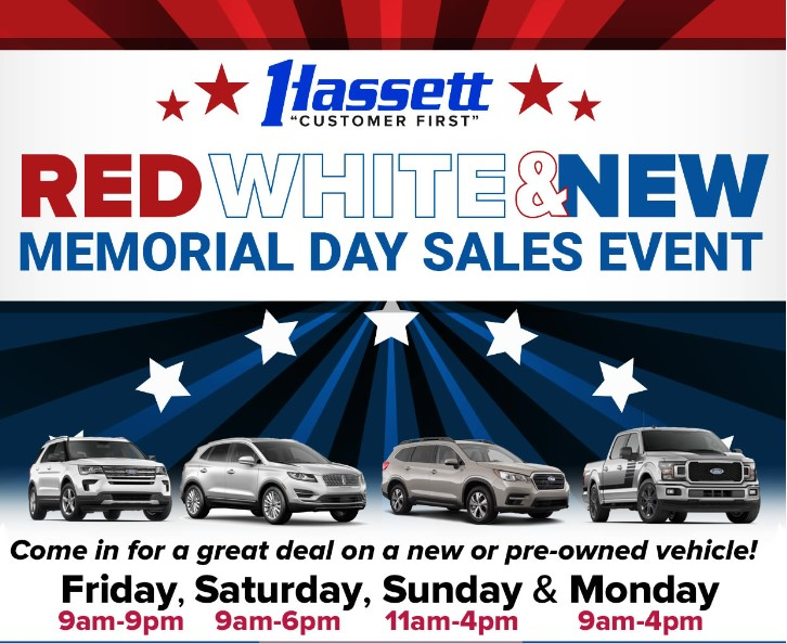 Red White And Blue Auto Sales >> Hassett S Red White New Sales Event Going On Now Hassett
